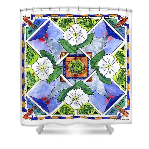 Mandala IIi - White Hibiscus Shower Curtain