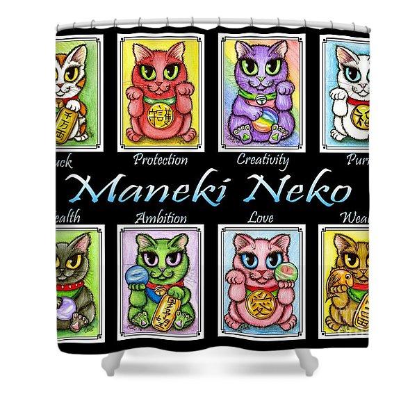 Maneki Neko Luck Cats Shower Curtain