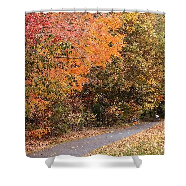 Shower Curtain featuring the photograph Manhan Rail Trail Fall Colors by Sven Kielhorn