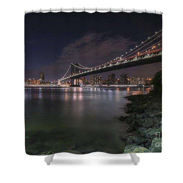 Manhattan Bridge Twinkles At Dusk Shower Curtain