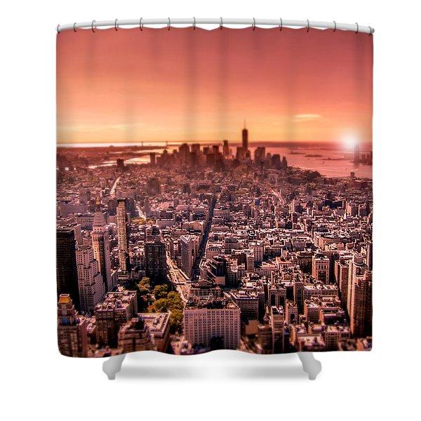 Manhattan In Red Shower Curtain