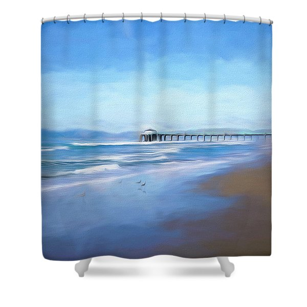 Manhattan Pier Blue Art Shower Curtain