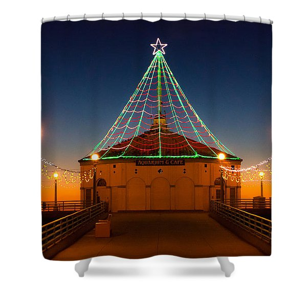 Manhattan Pier Christmas Lights Shower Curtain