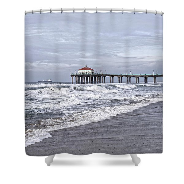 Manhattan Pier Surf And Waves Shower Curtain