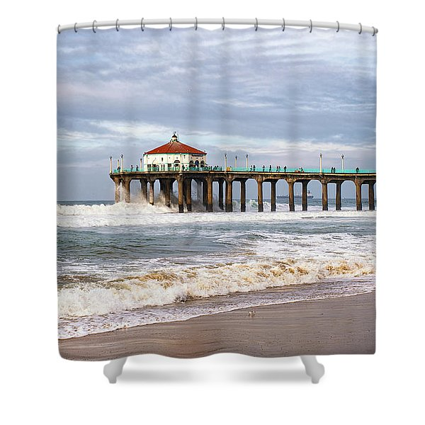 Manhattan Pier With Two Tankers Shower Curtain