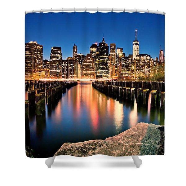 Manhattan Skyline At Dusk Shower Curtain