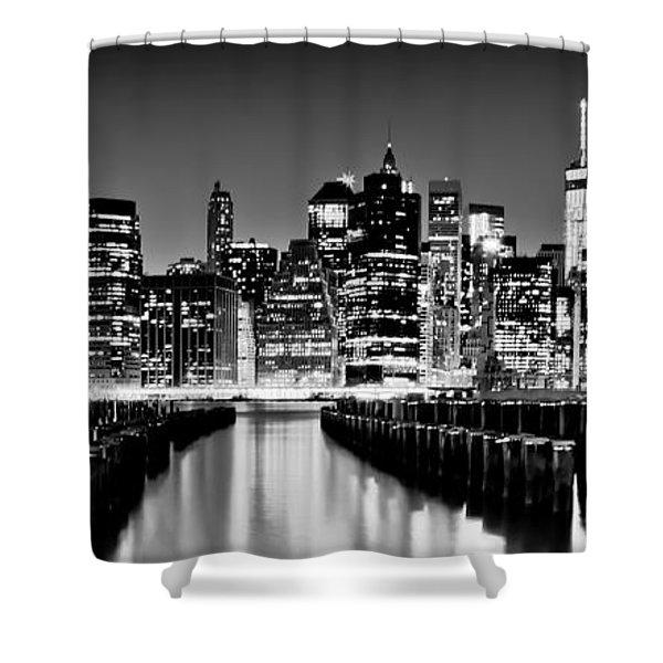 Manhattan Skyline Bw Shower Curtain