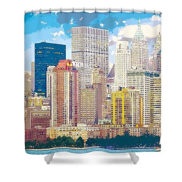 Manhattan Skyline New York City Shower Curtain