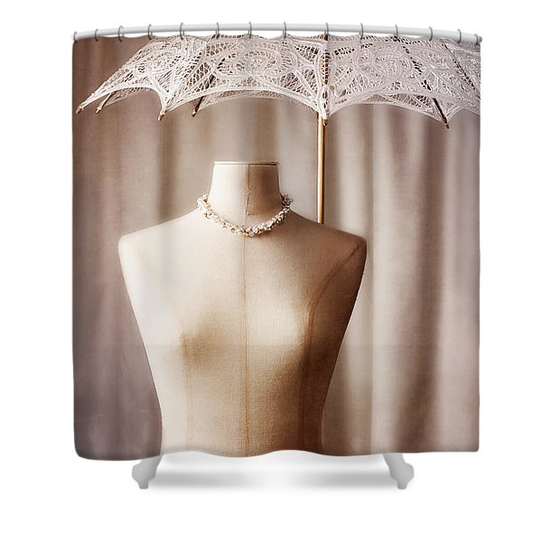 Mannequin With Parasol Shower Curtain