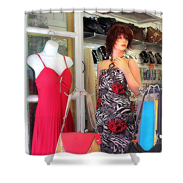 Mannequin With Stripped Flower Dress Shower Curtain
