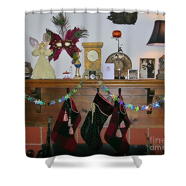 Mantel With Mask Shower Curtain