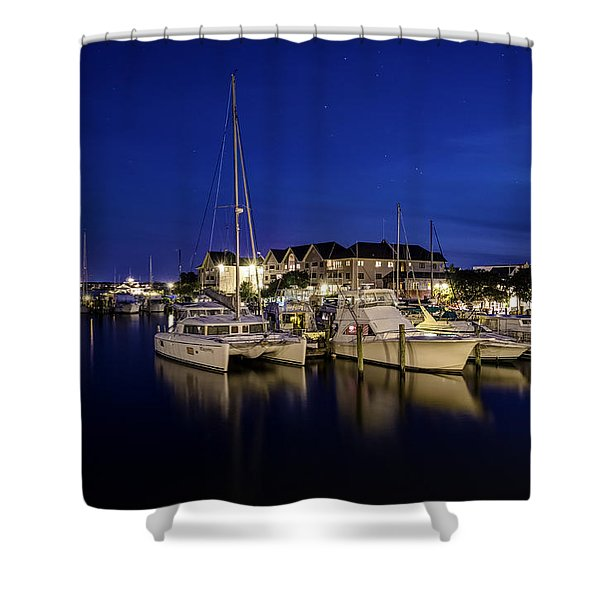 Manteo Waterfront Marina At Night Shower Curtain