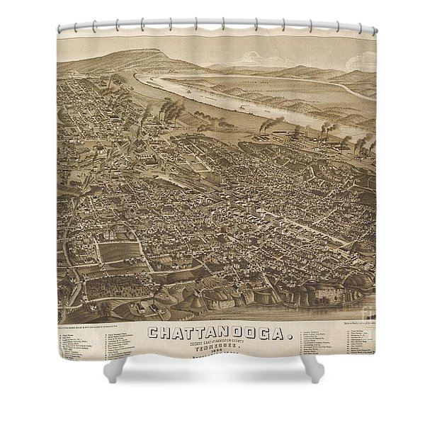 Map Of Chattanooga, County Seat Of Hamilton County, Tennessee 1886 Shower Curtain