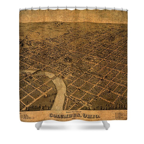 Map Of Columbus Ohio Vintage Street Schematic Birds Eye View On Worn Parchment Shower Curtain