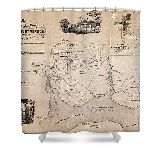 Map Of George Washingtons Mount Vernon - 1859 Shower Curtain