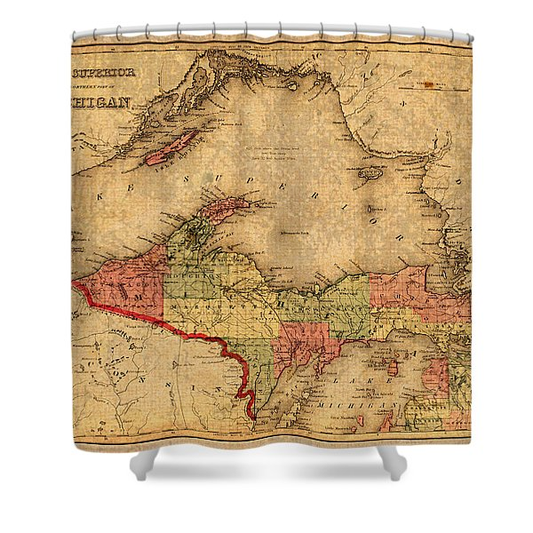 Map Of Michigan Upper Peninsula And Lake Superior Vintage Circa 1873 On Worn Distressed Canvas  Shower Curtain