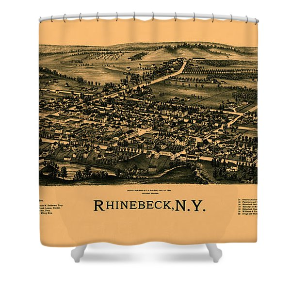 Map Of Rhinebeck 1890 Shower Curtain