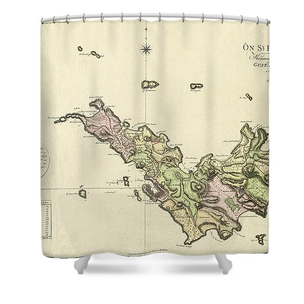 Map Of Saint Barts 1801 Shower Curtain