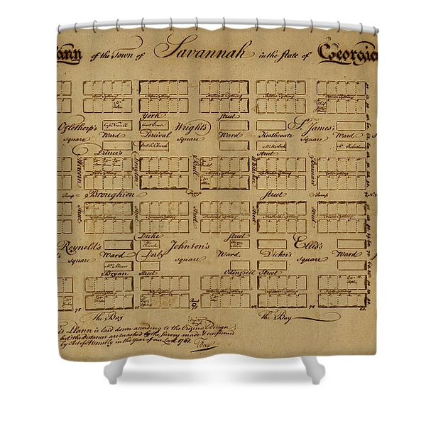 Map Of Savannah 1761 Shower Curtain