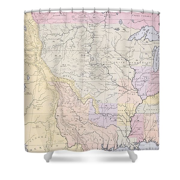 Map Showing The Localities Of The Indian Tribes Of The Us In 1833 Shower Curtain