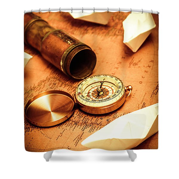 Maps And Bearings Shower Curtain