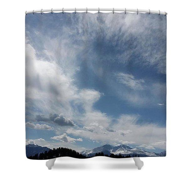 March Sky Longs Peak Shower Curtain