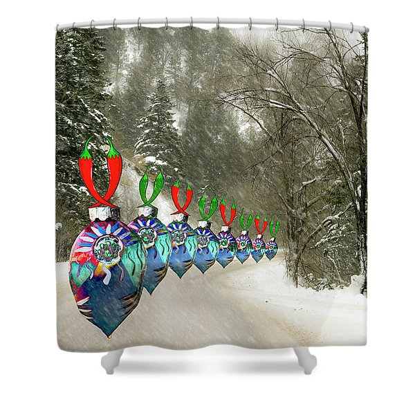 Marching Ornaments Chili Peppers Shower Curtain