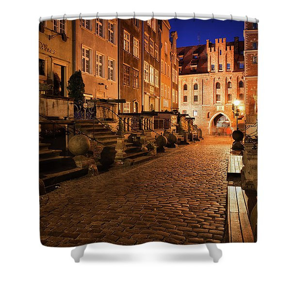 Mariacka Street At Night In Old Town Of Gdansk Shower Curtain