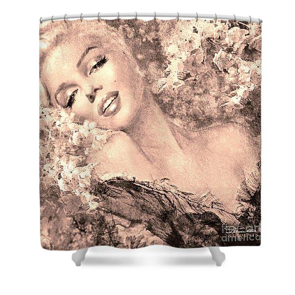 Marilyn Cherry Blossom, B Sepia Shower Curtain
