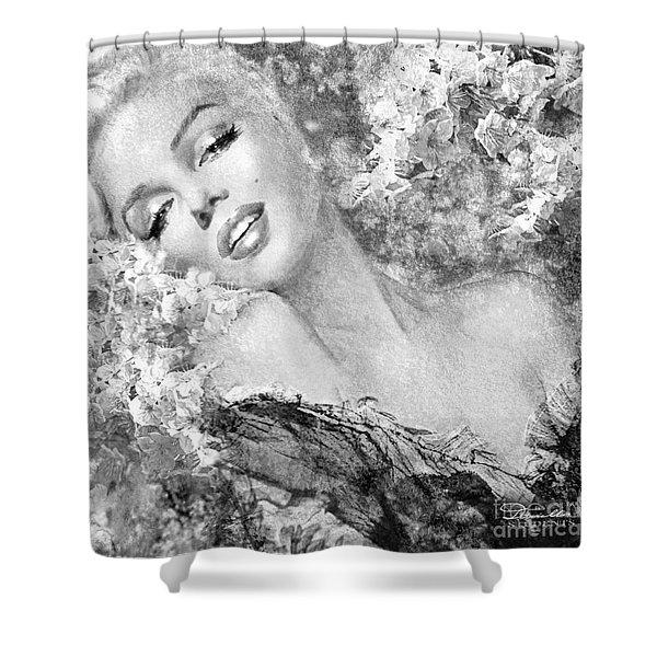Marilyn Cherry Blossom Bw Shower Curtain