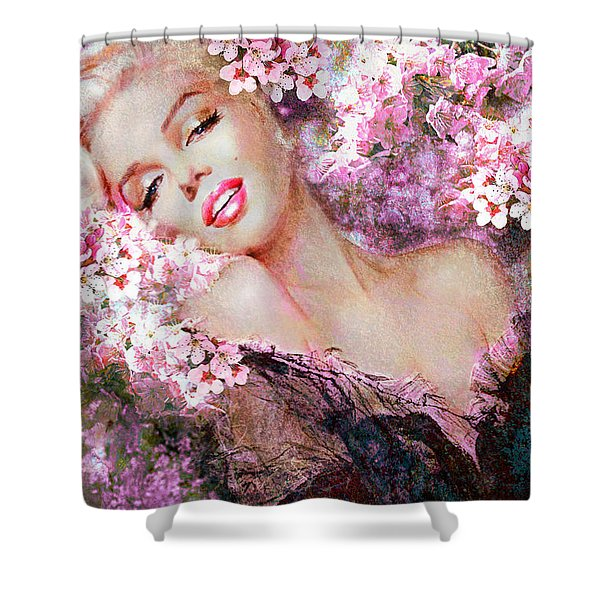 Marilyn Cherry Blossoms Pink Shower Curtain