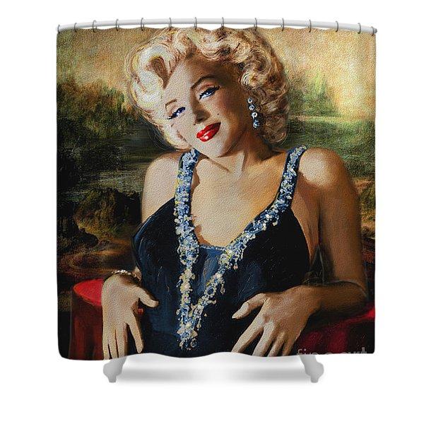 Marilyn Monroe  Mona Lisa  Shower Curtain
