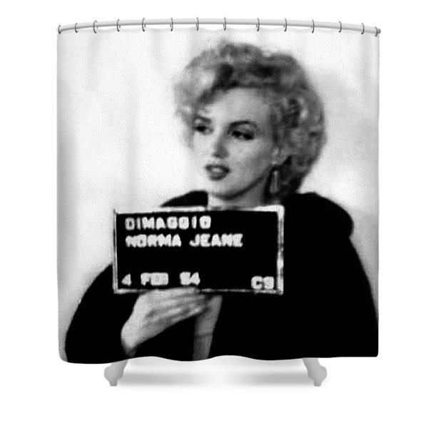 Marilyn Monroe Mugshot In Black And White Shower Curtain