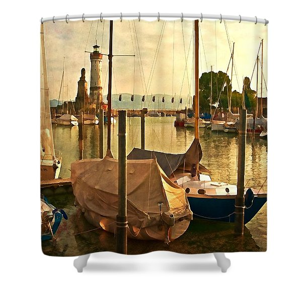 Marina At Golden Light - Digital Paint Shower Curtain