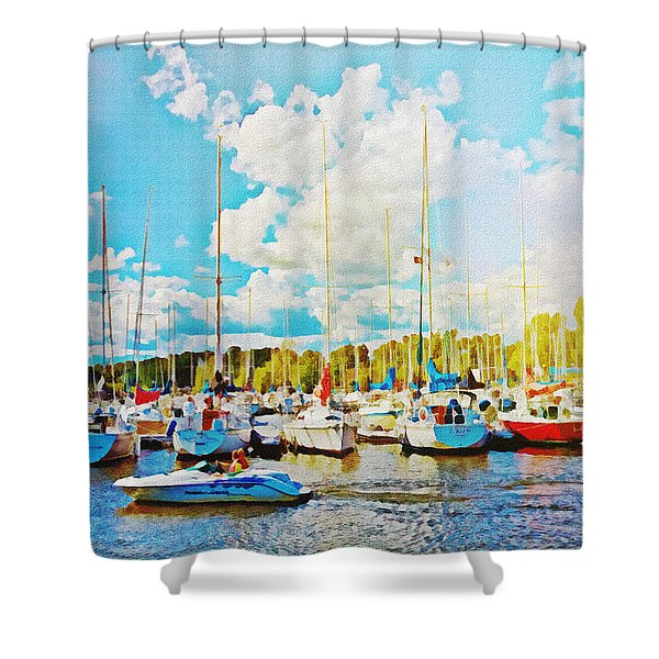 Marina In The Summertime Shower Curtain