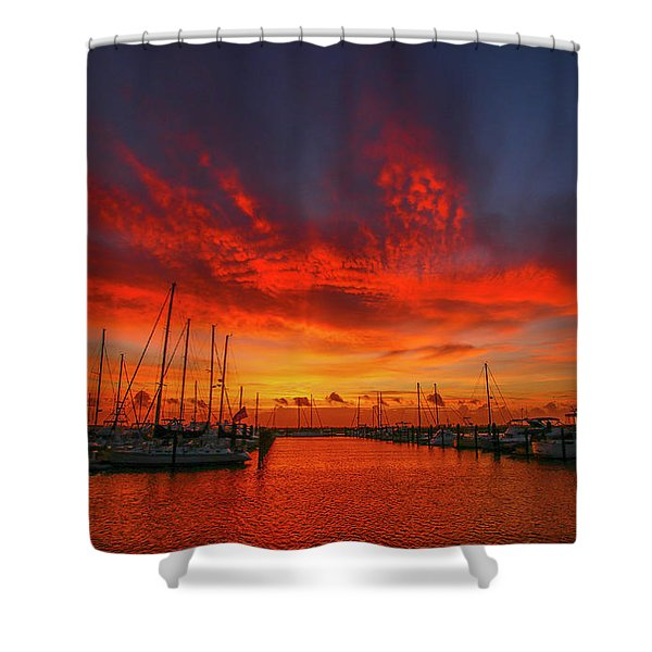 Shower Curtain featuring the photograph Marina Sunrise - Ft. Pierce by Tom Claud