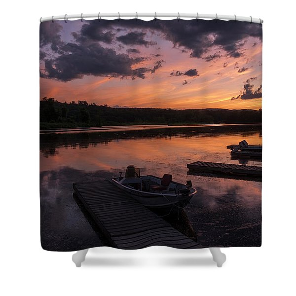 Shower Curtain featuring the photograph Marina Sunset IIi by Tom Singleton