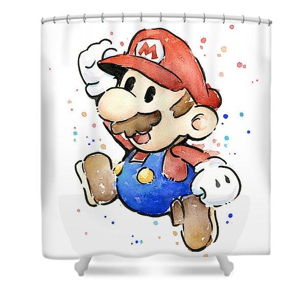 Mario Watercolor Fan Art Shower Curtain
