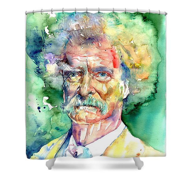 Mark Twain Watercolor Shower Curtain
