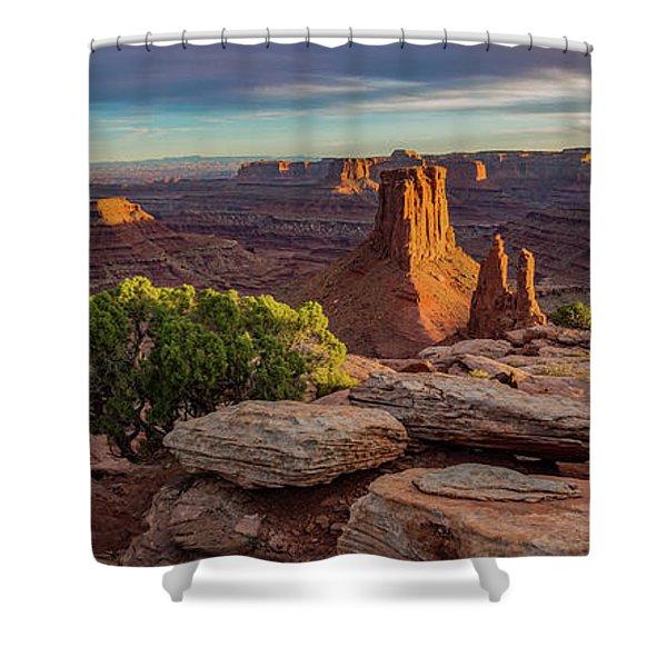 Marlboro Point Sunset Panorama Shower Curtain