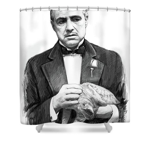 Marlon Brando - God Father Art Poster Shower Curtain