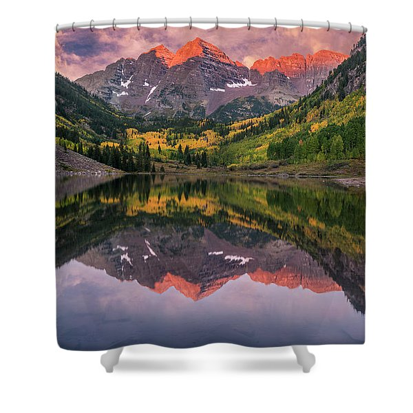 Maroon Bells At Sunrise Shower Curtain