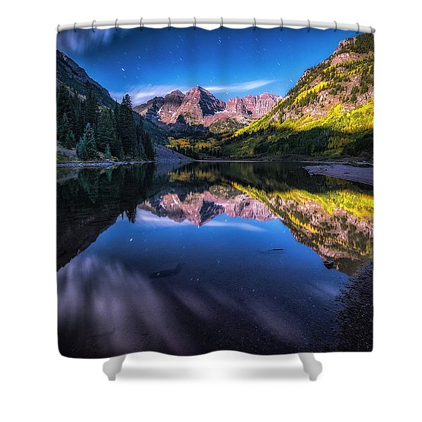 Maroon Bells By Moonlight Shower Curtain