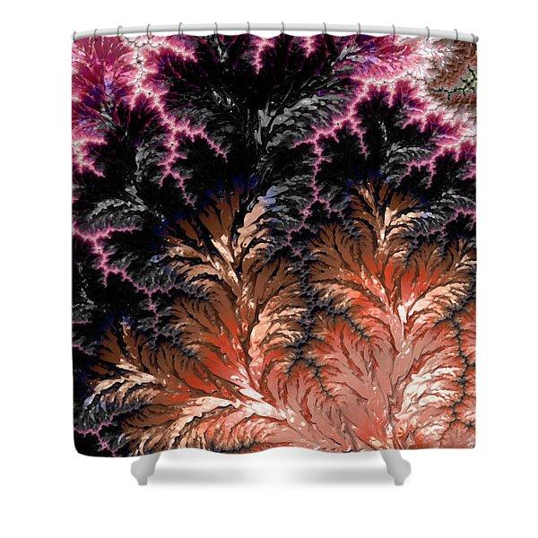 Maroon, Black And Orange Fractal Design Shower Curtain