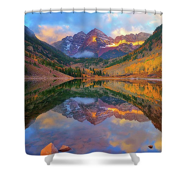 Maroon Lake Dawn Shower Curtain