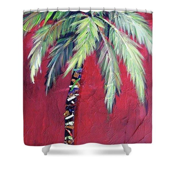 Maroon Palm Tree Shower Curtain