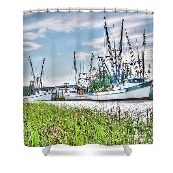 Marsh View Shrimp Boats Shower Curtain