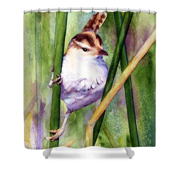 Silver Creek Marsh Wren Shower Curtain