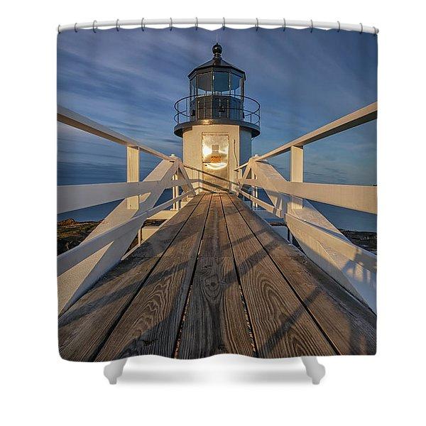 Marshall Point Lighthouse At Sunrise Shower Curtain