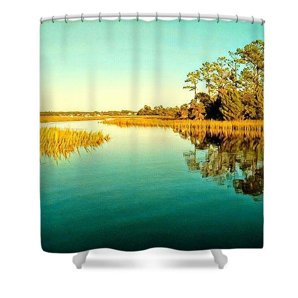 Marvelous Marsh Shower Curtain